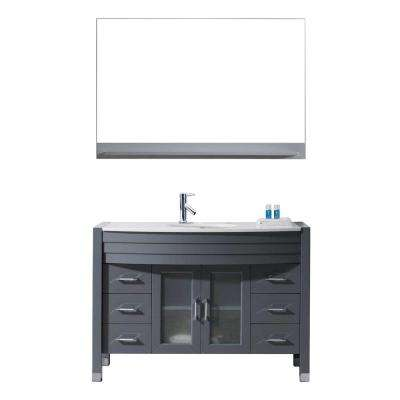 Ava 47 in. W Bath Vanity in Gray with Stone Vanity Top in White with Round Basin and Mirror and Faucet