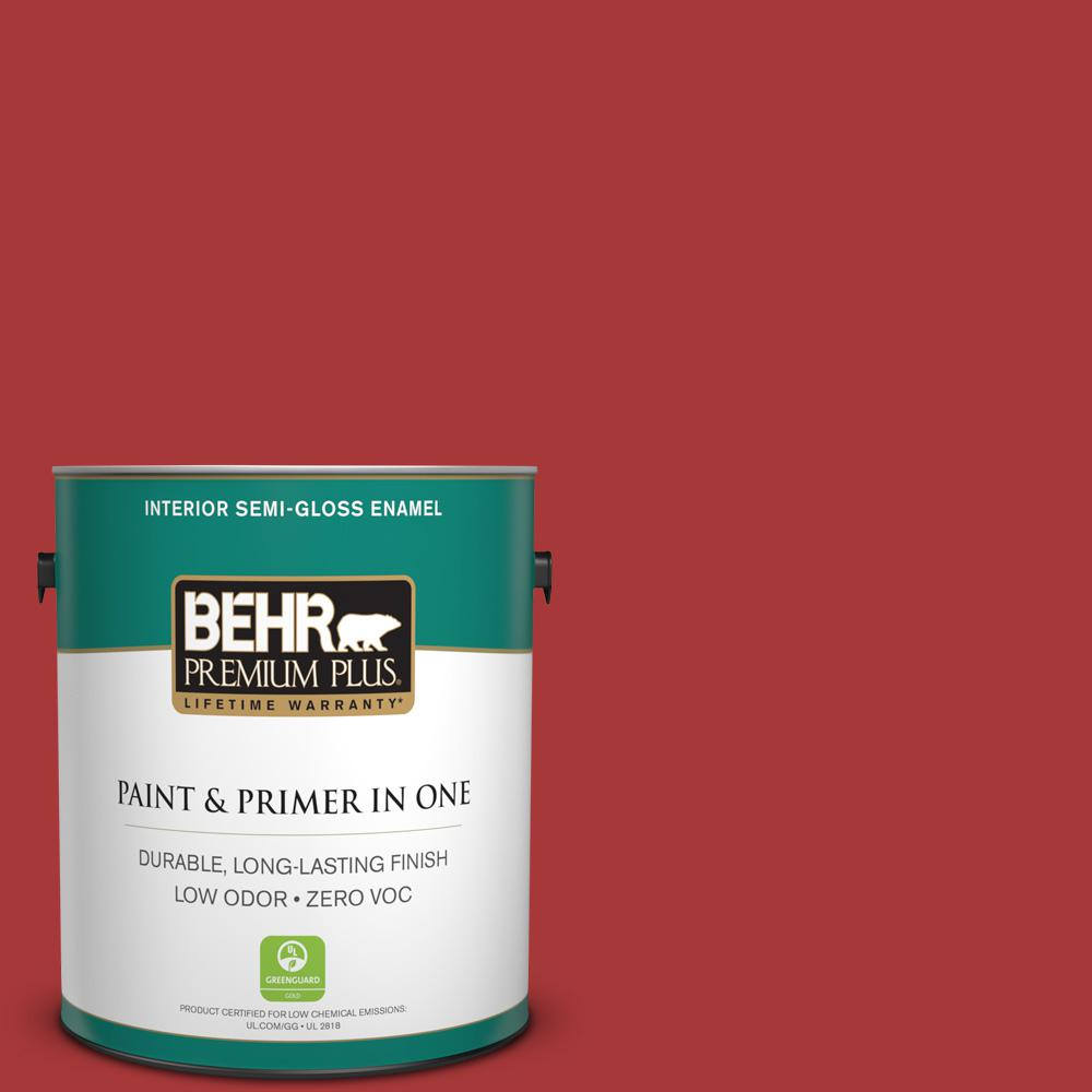 BEHR Premium Plus 1-gal. #BXC-03 Scarlet Semi-Gloss Enamel Interior Paint