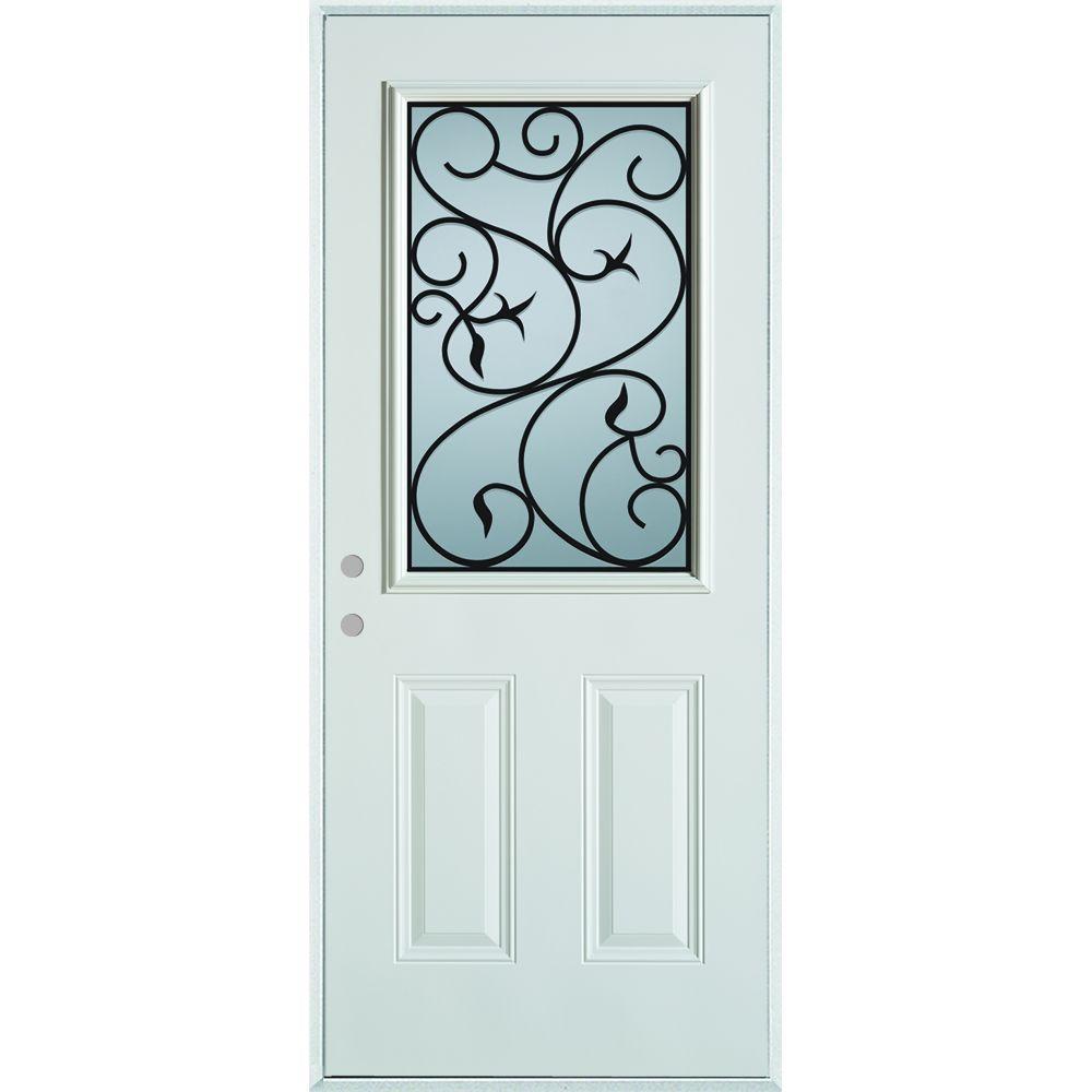Stanley Doors 37.375 in. x 82.375 in. Silkscreened Glass 1/2 Lite 2-Panel Painted White Steel Prehung Front Door