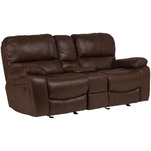 Ramsey Brown Transitional Leather-Look Microfiber Reclining ...