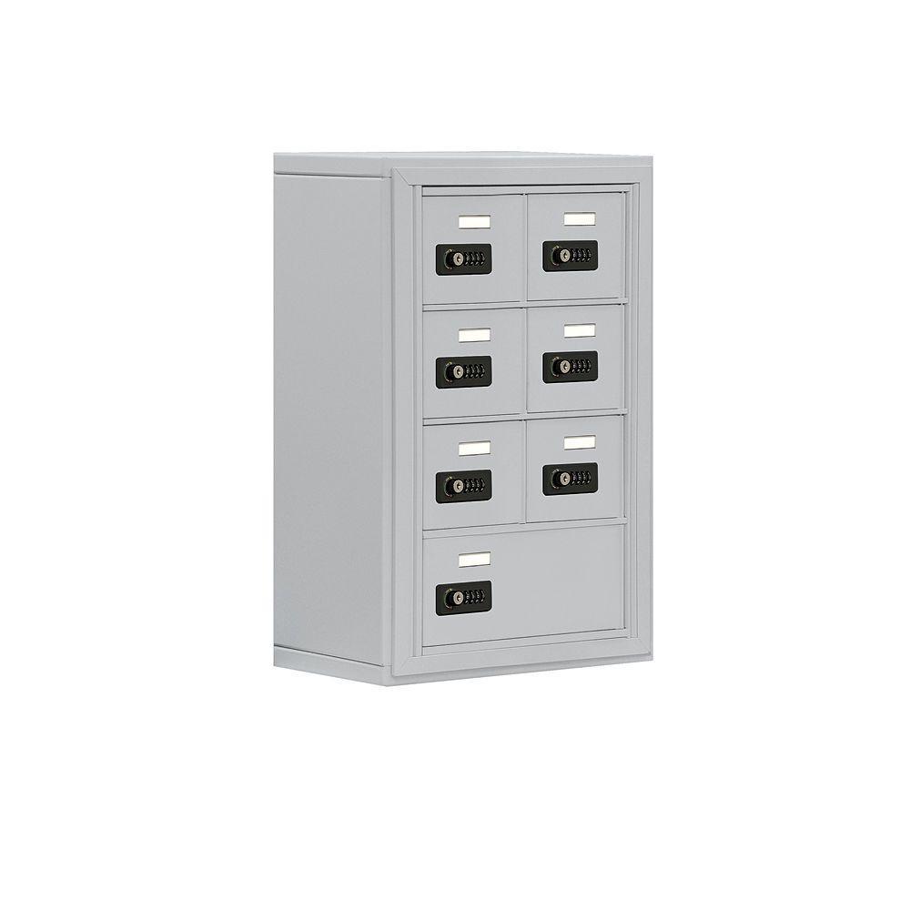 19000 Series 17.5 in. W x 25.5 in. H x 9.25 in. D 6 A/1 B Doors S-Mount Resettable Locks Cell Phone Locker in Aluminum
