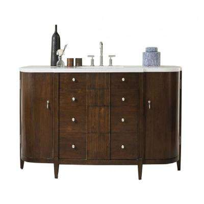 Melborne 68 in. W Single Vanity in Warm Espresso with Solid Surface Top in Arctic Fall with White Basin