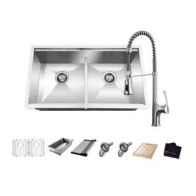 All-in-One Undermount Stainless Steel 33 in. 50/50 Double Bowl Workstation Kitchen Sink with Faucet and Accessories