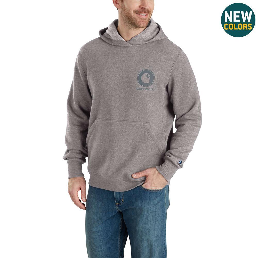 Men's Medium Asphalt Heather/Gray Cotton/Polyester Force Delmont Graphic Hooded Sweatshirt