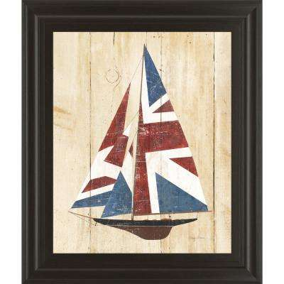 "22 in. x 26 in. ""British Flag Sailboat"" by Avery Tillmon Framed Printed Wall Art"