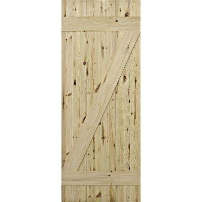 37 in. x 84 in. Cellar Natural Laminated Rustic Knotty Pine Barn Door To Go with Sliding Rail System