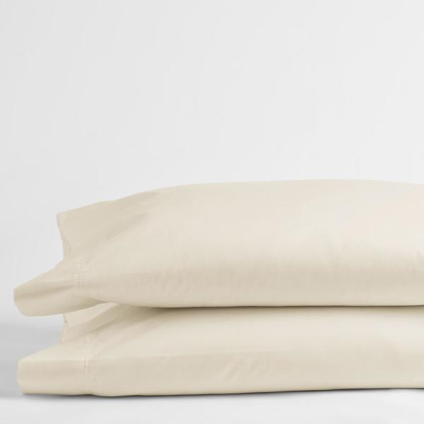 Ivory Solid 300-Thread Count Bamboo Cotton Sateen Standard Pillowcase (Set of 2)