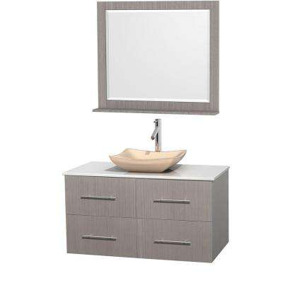 Centra 42 in. Vanity in Gray Oak with Solid-Surface Vanity Top in White, Ivory Marble Sink and 36 in. Mirror