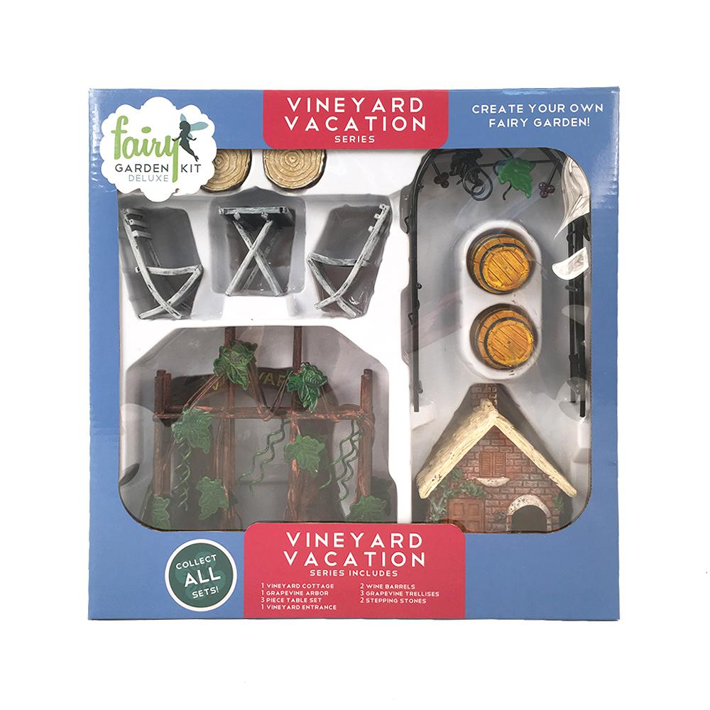Arcadia Garden Products Vineyard Vacation Polyresin Fairy Garden Kit (13-Piece) This Fairy Garden Kit will inspire your creativity. You can easily design a miniature garden scene and step into a world of fantasy. Fairy Garden Kits make it easy to design unique and delightful gardens. Imagine the possibilities.