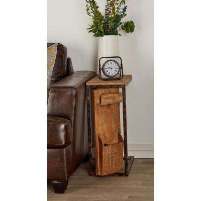 Brown Rectangular Open-Frame Side Table