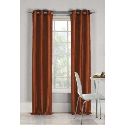 Semi-Opaque Bali 84 in. L Faux Silk Panel in Rust Orange (2-Pack)