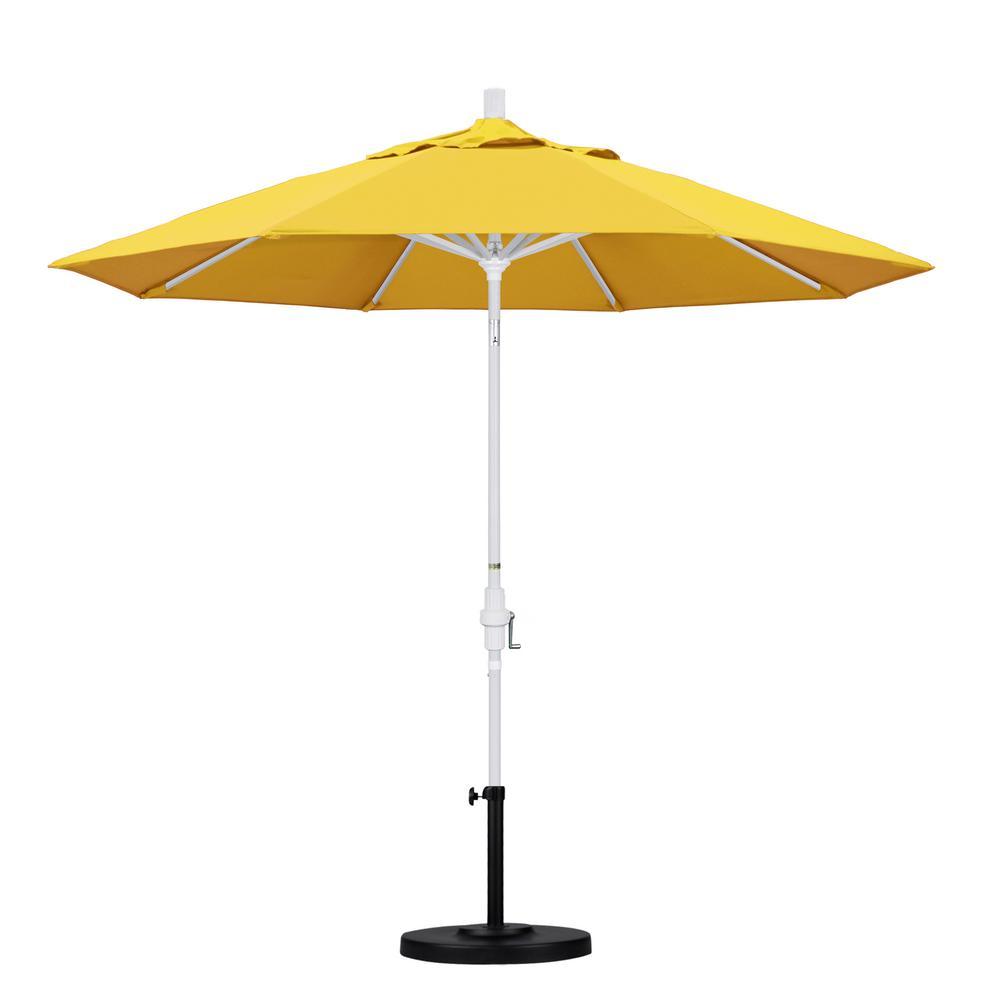 California Umbrella 9 ft. Aluminum Collar Tilt Patio Umbrella in Lemon Olefin