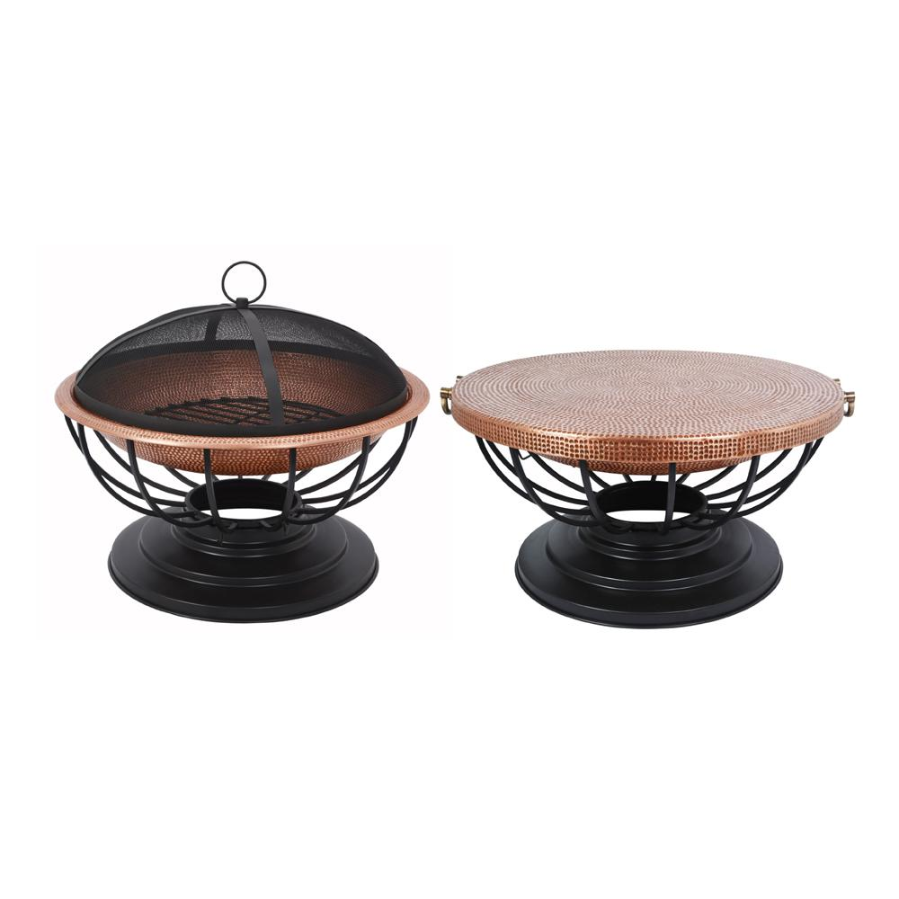 29.5 in. Round Hammered Copper Fire Pit with Table