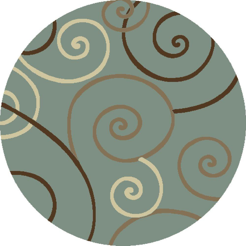 Concord Global Trading Chester Scroll Blue 5 ft. 3 in. Round Area Rug