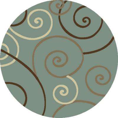 Chester Scroll Blue 7 ft. 10 in. Round Area Rug