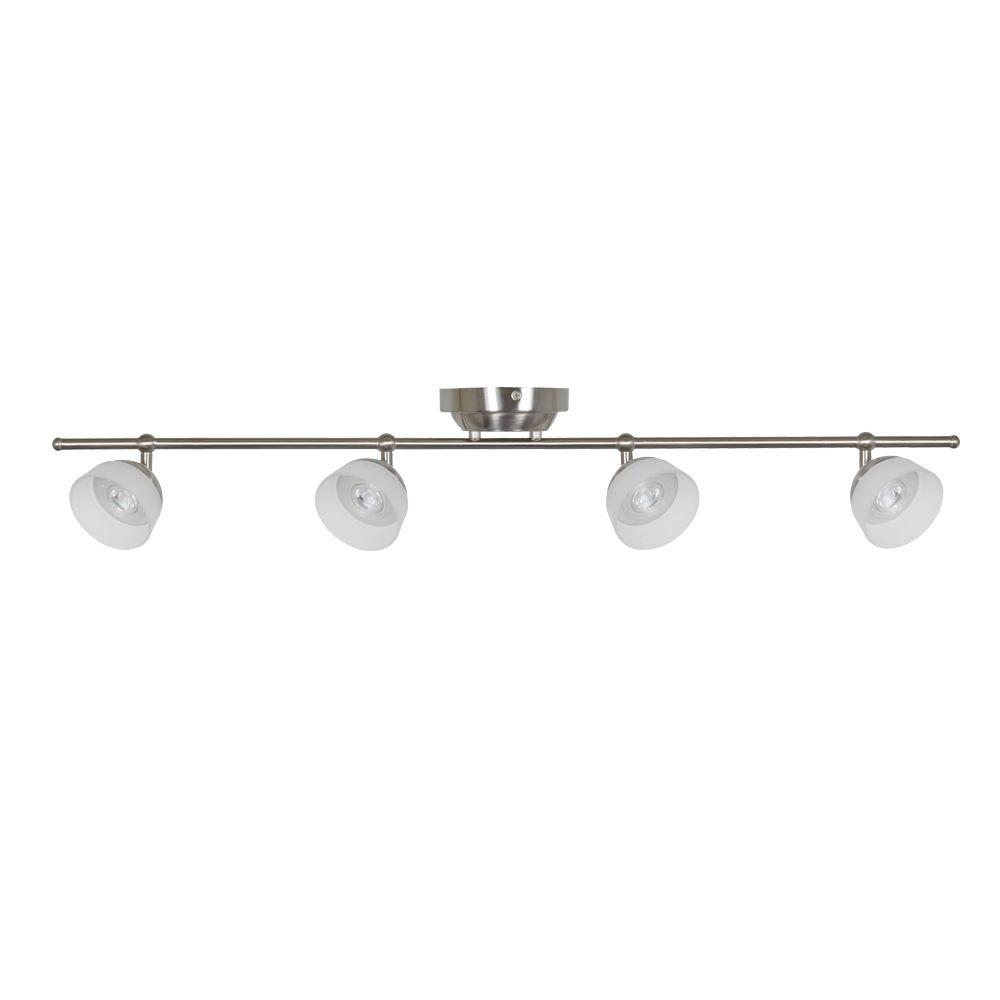 Madison 3 ft. 4-Light Satin Nickel LED Fixed Track with 400