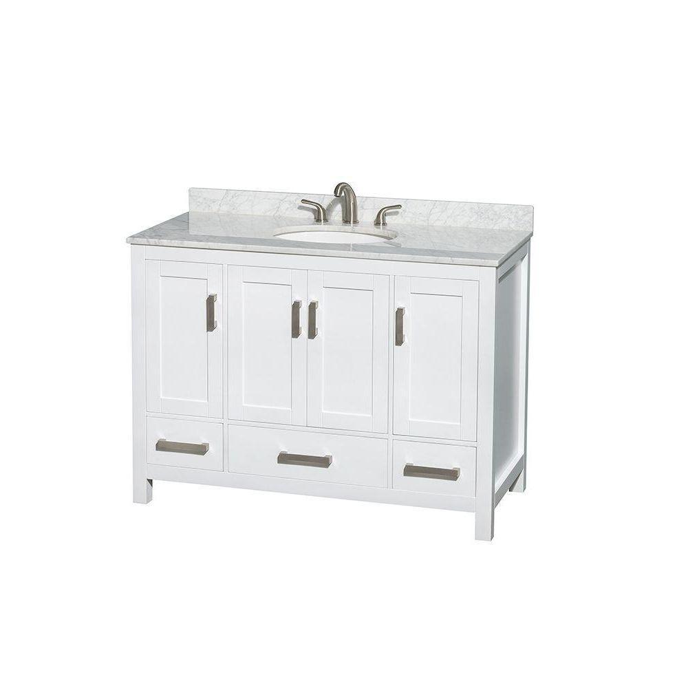 Sheffield 48 in. Vanity in White with Marble Vanity Top in