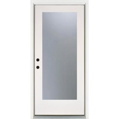 36 in. x 80 in. Smooth White Right-Hand Inswing Full-Lite Frosted Finished Fiberglass Prehung Front Door