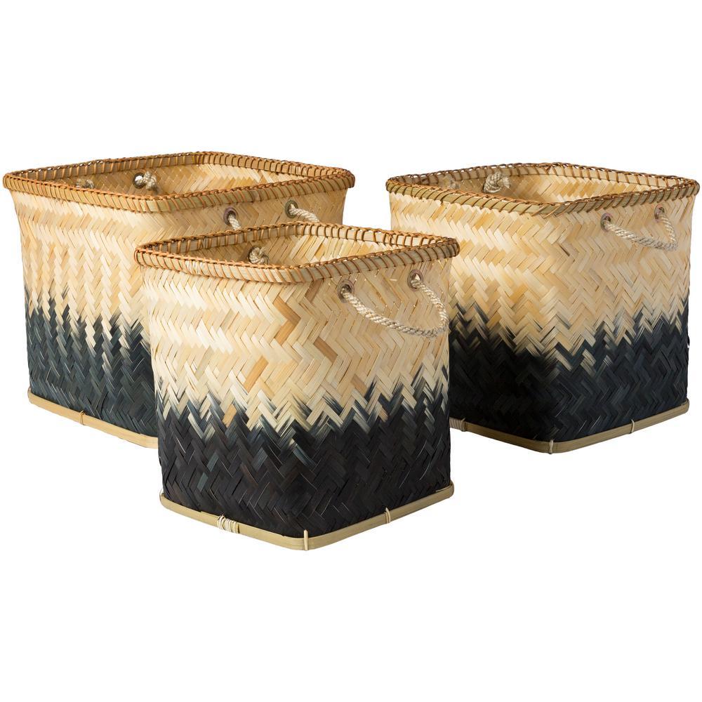 Wort Black Bamboo 11 in. x 11.8 in., 13 in. x 13.4 in., 15.7 in. x 14.2 in. 3-Piece Basket Set