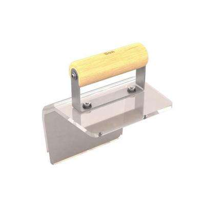 6 in. x 5 in. Plexiglass Outside Step Edger with 1-1/2 in. Radius with Wood Handle.