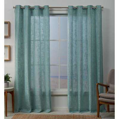 Sena 54 in. W x 84 in. L Sheer Grommet Top Curtain Panel in Seafoam (2 Panels)