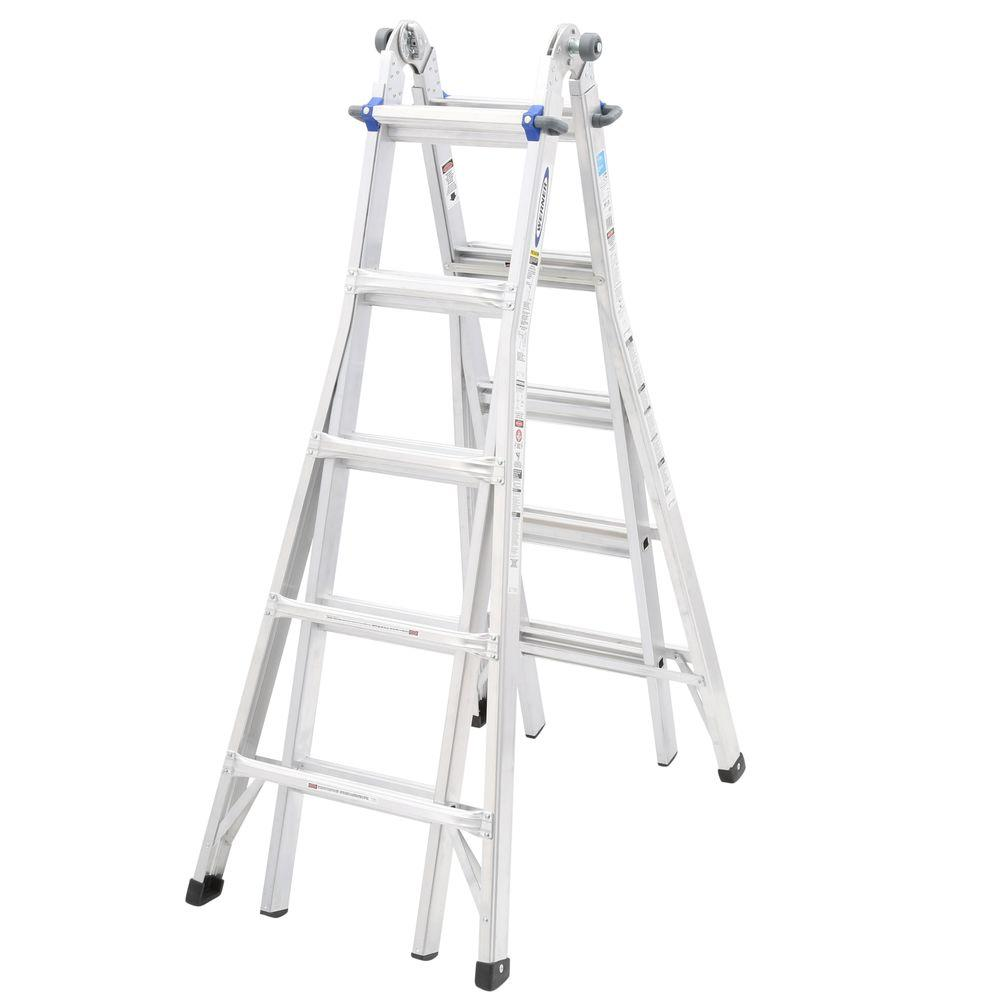 Aluminum Telescoping Multi Position Ladder With 250 Lb. Load Capacity Type  I Duty Rating MT1 22   The Home Depot