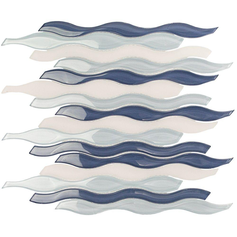 Splashback Tile Flow Ocean Polished Glass and Marble Mosaic Wall Tile - 3 in. x 6 in. Tile Sample