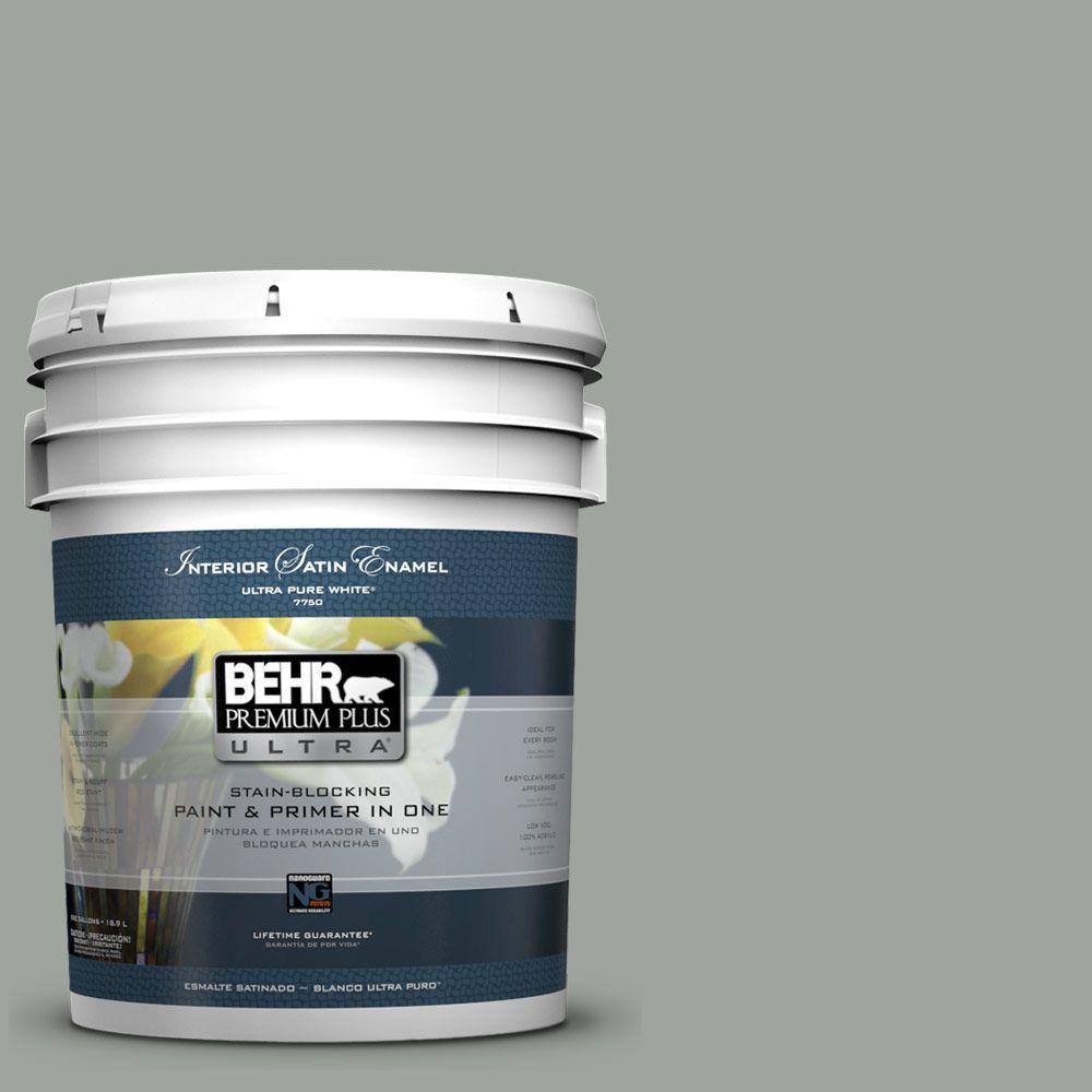 Behr Premium Plus Ultra 5 Gal 710f 4 Sage Gray Satin Enamel Interior
