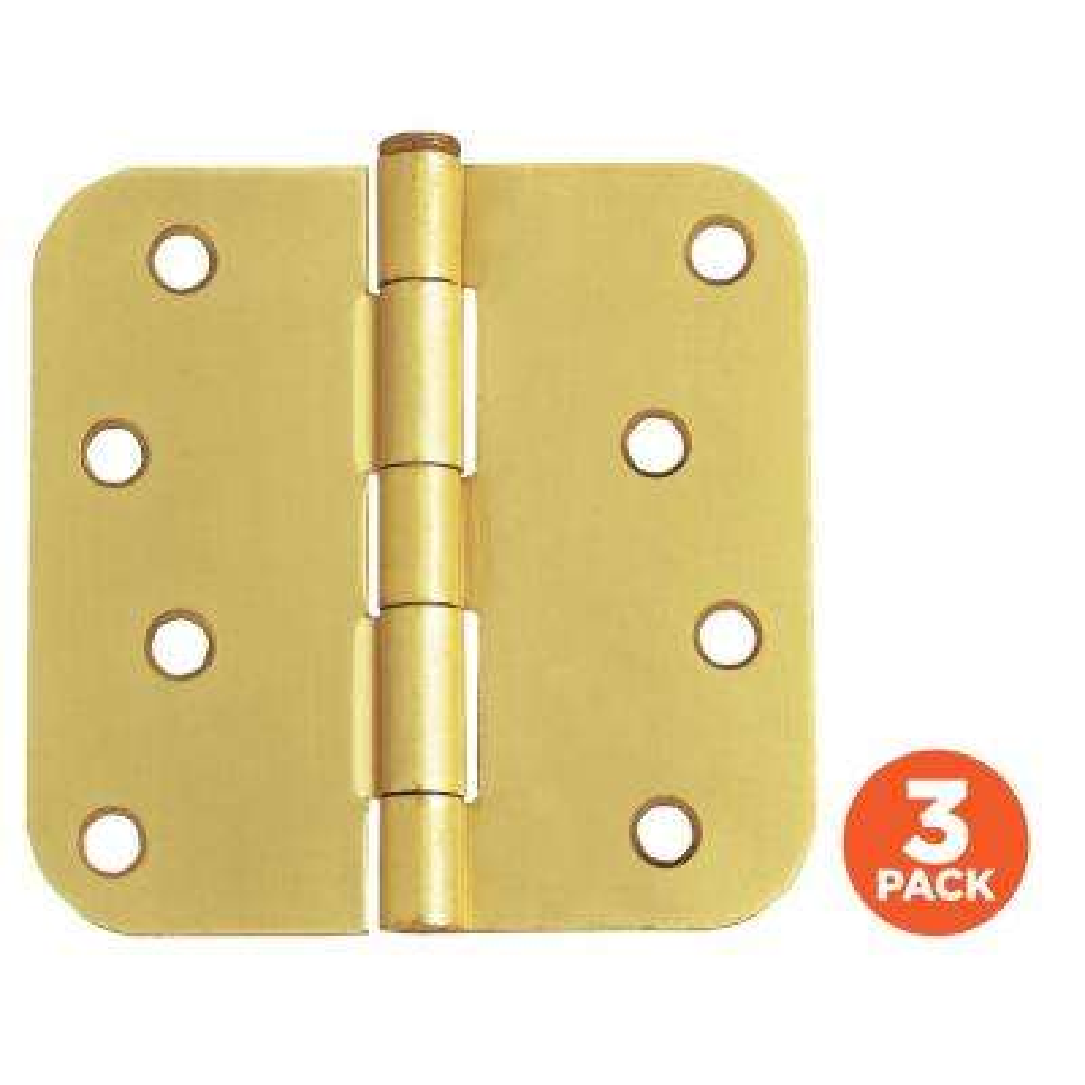 4 in. x 5/8 in. Radius Satin Brass Door Hinge Value Pack (3 per Pack)
