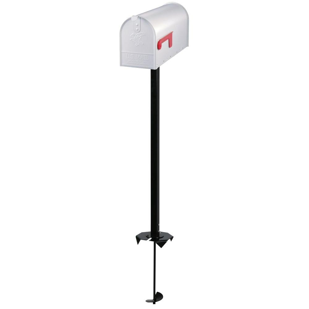 Everton Elite Steel Mailbox and Auger Post Kit in White
