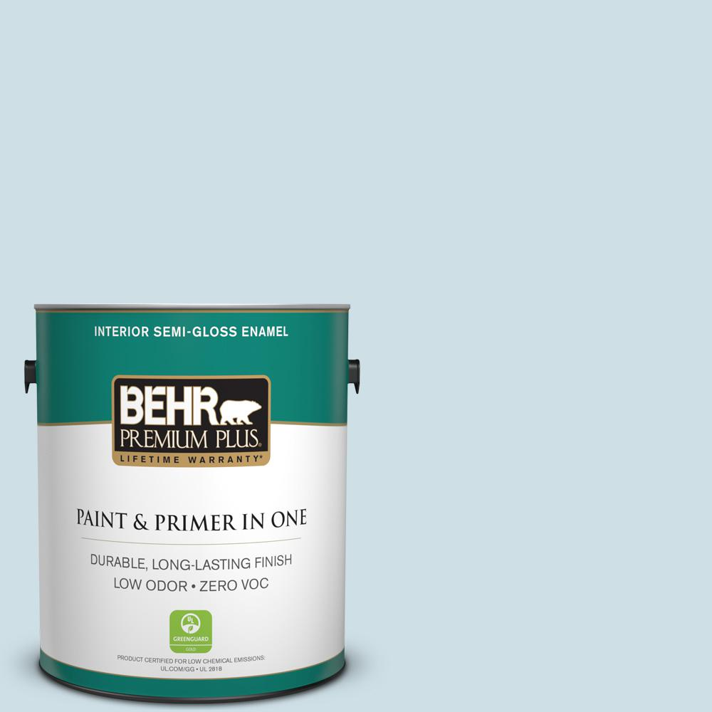 BEHR Premium Plus 1-gal. #530E-2 Cool Sky Zero VOC Semi-Gloss Enamel Interior Paint