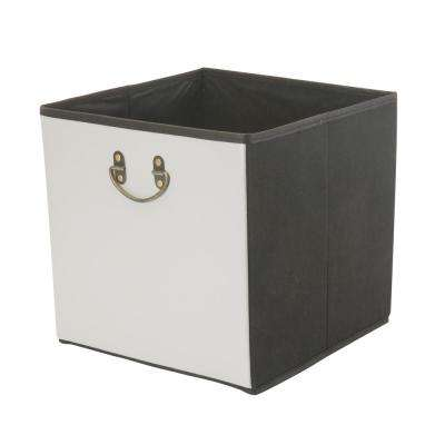 12.8 in. Faux Leather Grey Collapsible Storage Cube