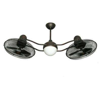 Duet 15 in. Rotating Dual Motor Caged Indoor/Outdoor Oil Rubbed Bronze Ceiling Fan with Light with Remote Control