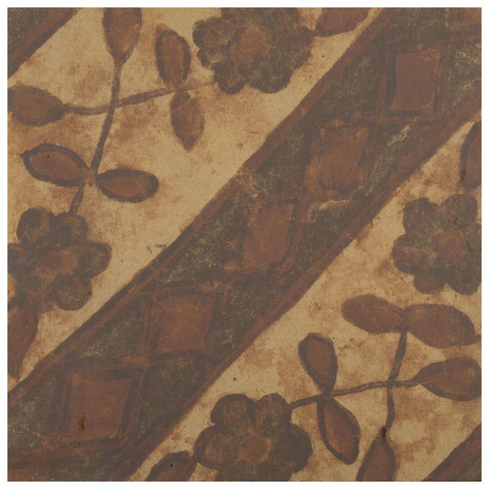 Merola Tile Klinker Retro Rojo Aubrieta Encaustic 12-3/4 in  x 12-3/4 in   Ceramic Floor and Wall Quarry Tile