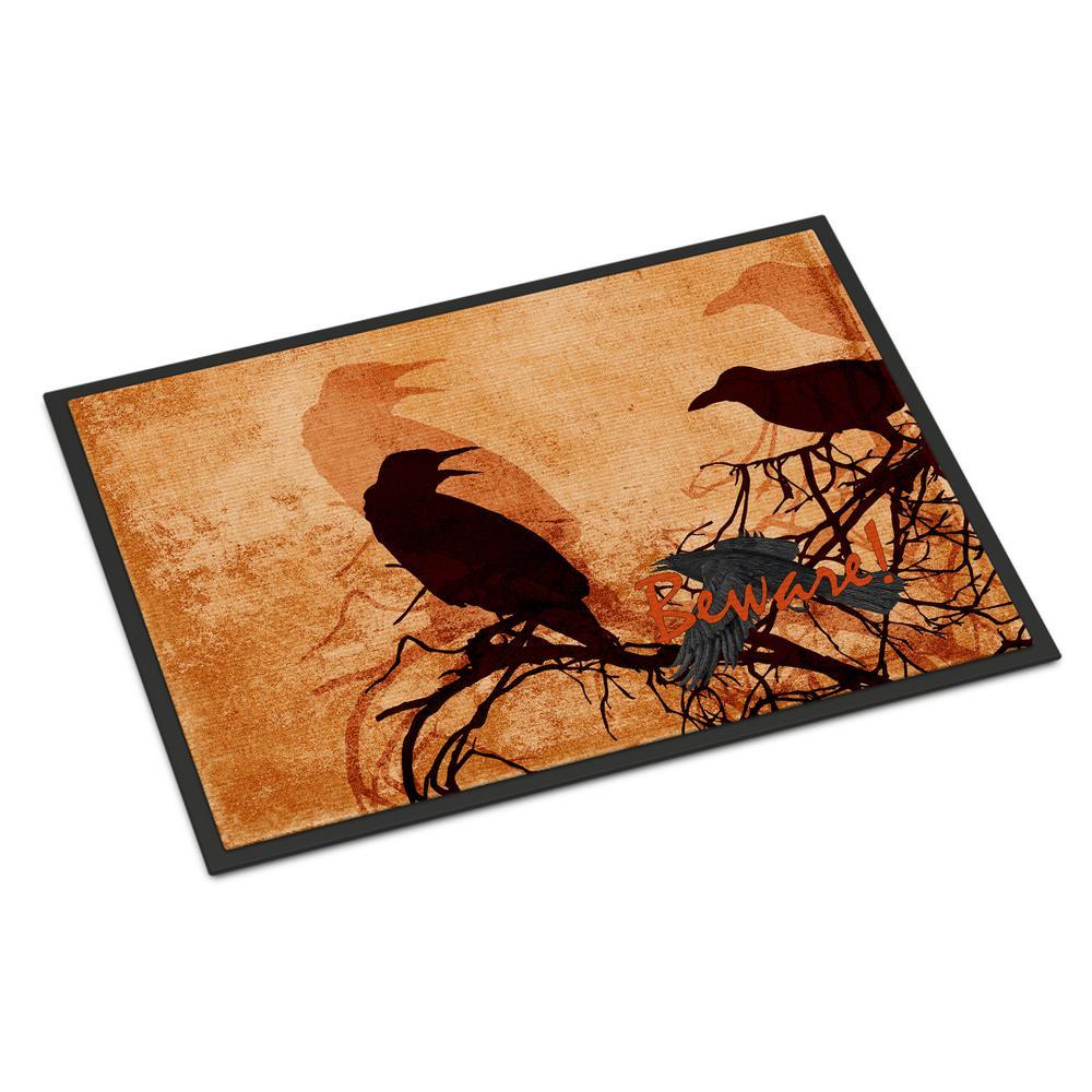 18 in. x 27 in. Indoor/Outdoor Beware of The Black Crows Halloween Door Mat