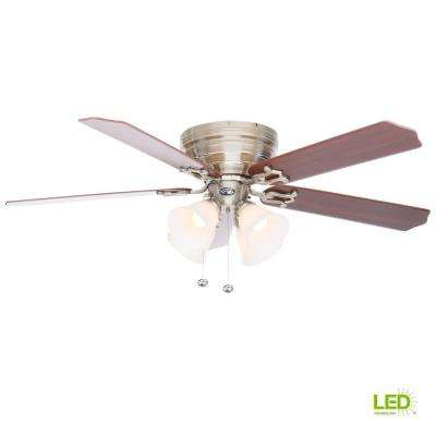 Carriage House 52 in. LED Indoor Brushed Nickel Ceiling Fan with Light Kit