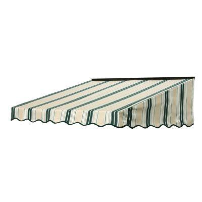 NuImage Awnings 5 ft. 2700 Series Fabric Door Canopy (17 in. H x 41 in. D) in Forest Green/Beige/Natural Fancy Stripe