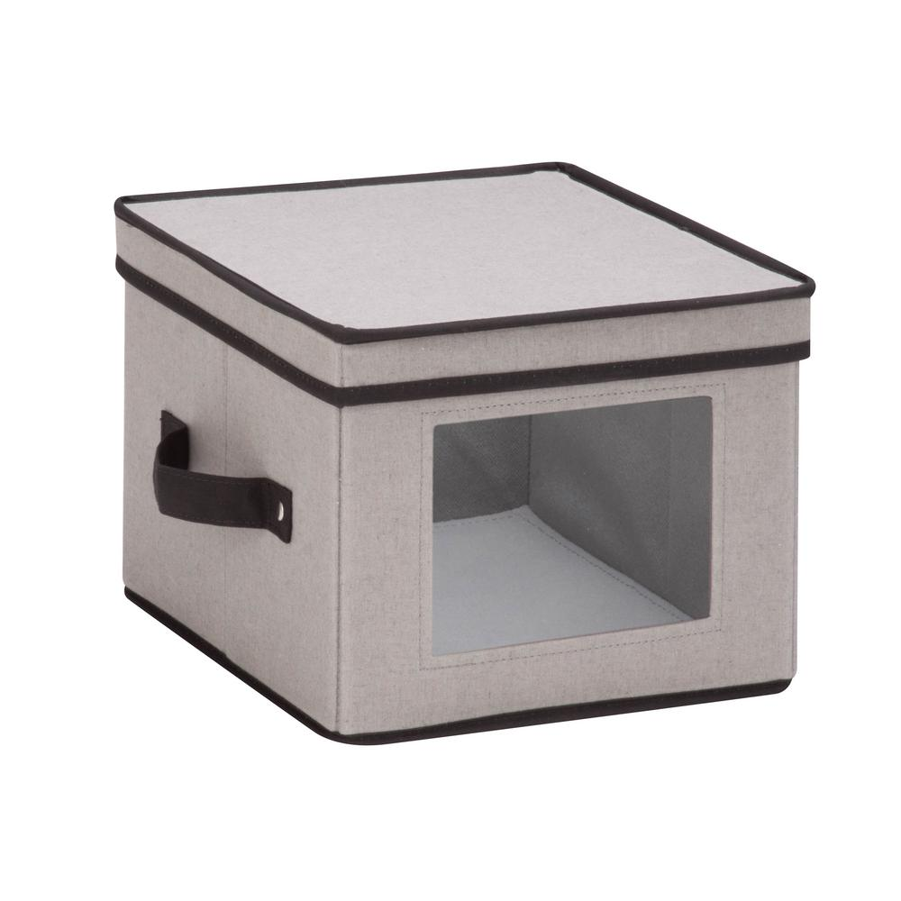 Honey-Can-Do Dinnerware Storage Box 10 in. x 10 in. x 8 in. in Gray Canvas - Salad Bowls/Plates