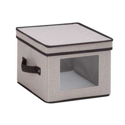 Dinnerware Storage Box 10 in. x 10 in. x 8 in. in Gray Canvas - Salad Bowls/Plates