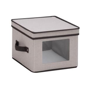 Click here to buy Honey-Can-Do Dinnerware Storage Box 10 inch x 10 inch x 8 inch in Gray Canvas - Salad Bowls/Plates by Honey-Can-Do.
