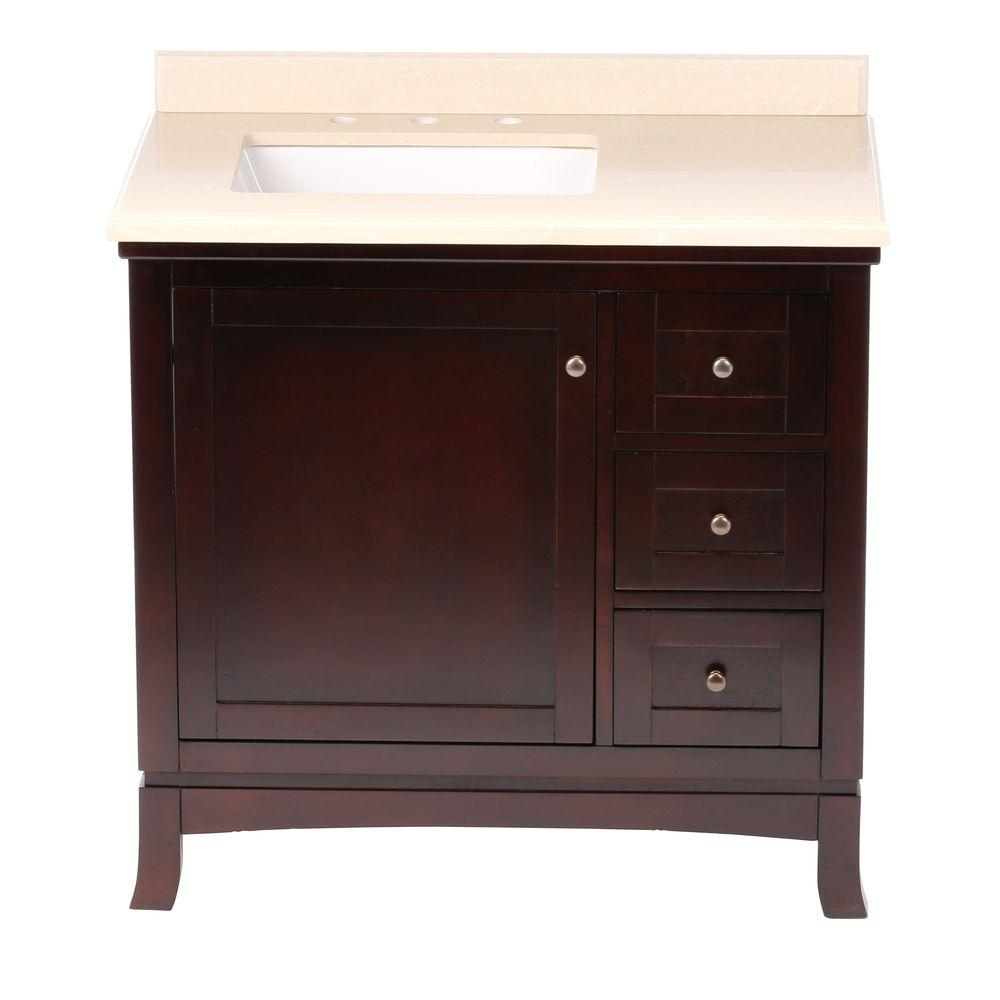 OVE Decors Valega 36 in. Vanity in Tobacco with Cultured Marble Vanity Top in Beige