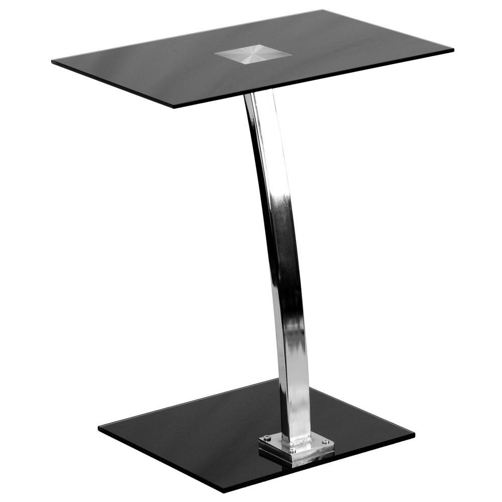 19 in. Rectangular Silk Black/Chrome Laptop Desks with Glass Top