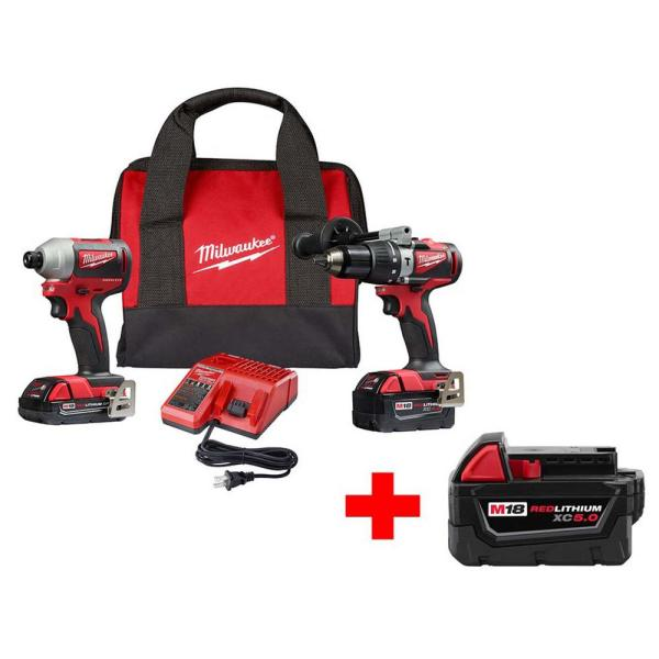 Milwaukee M18 18-Volt Lithium-Ion Brushless Cordless Hammer Drill and Impact Combo Kit with Free M18 5.0Ah Battery
