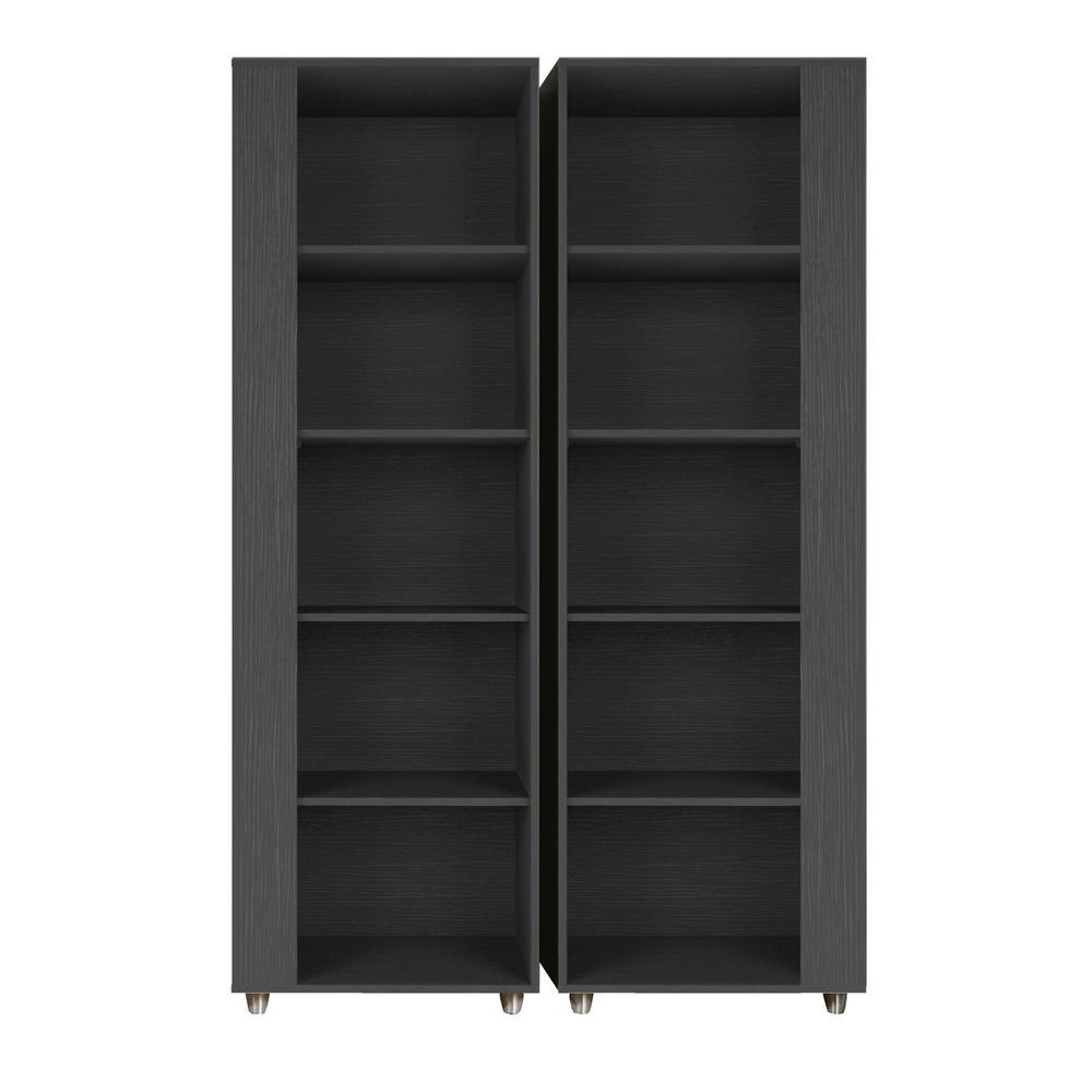 Binghamton Black 5-Shelf Mid-Century Modern Bookcase (Set of 2)
