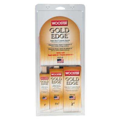 1 in. Thin Angle Sash, 1-1/2 in. Angle Sash, 2 in. Flat Gold Edge Polyester Brush Set (3-Pack)