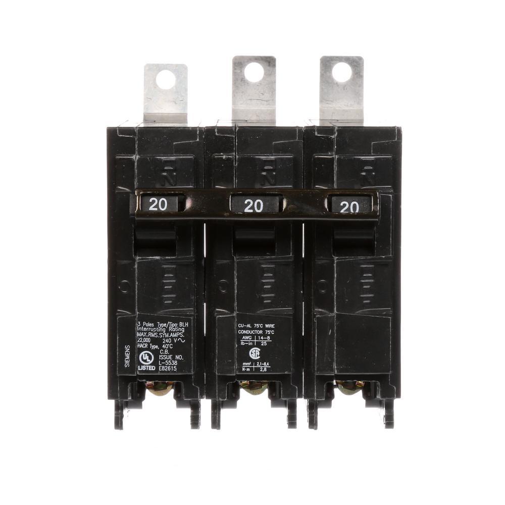 20 Amp 3-Pole Type BLH 22 kA Circuit Breaker
