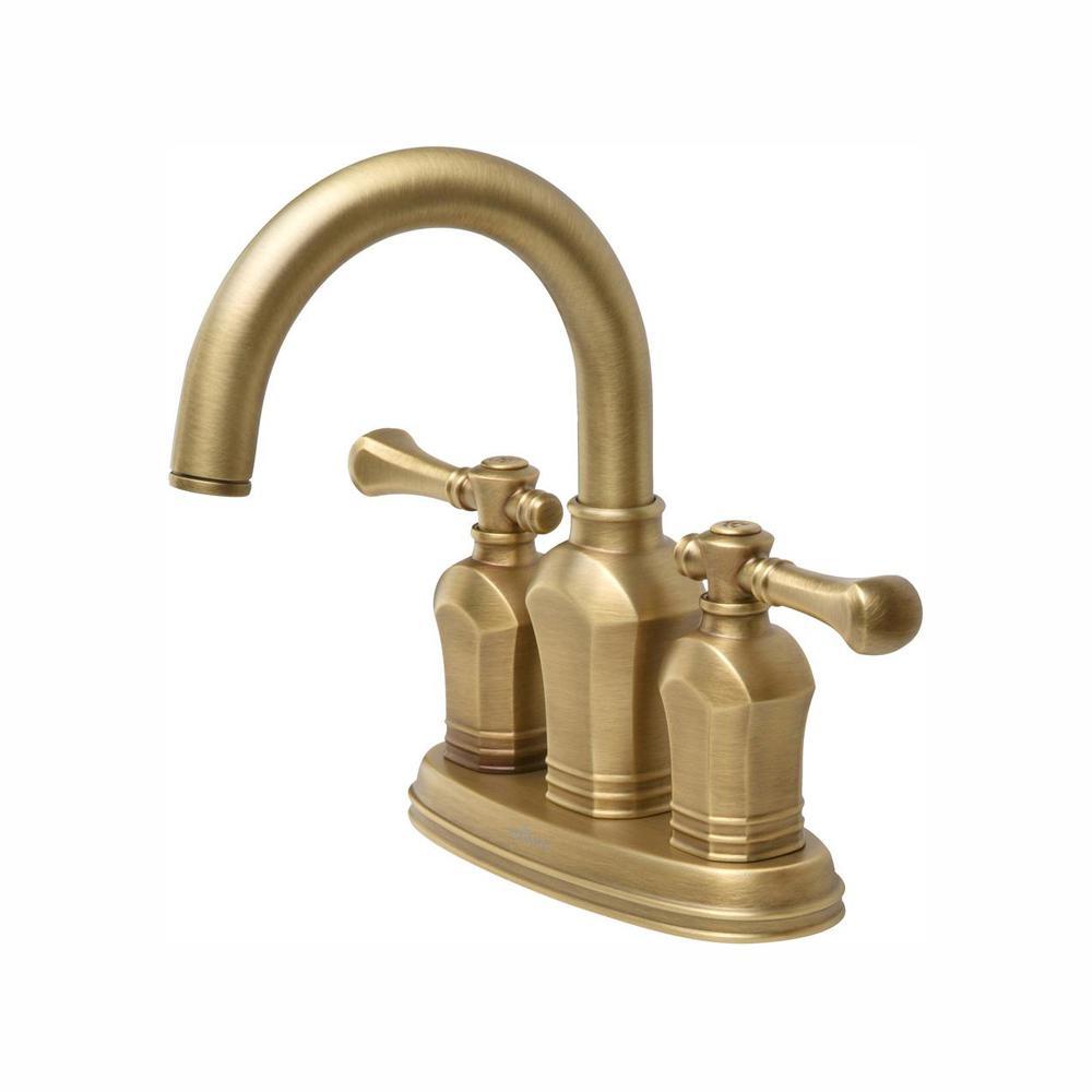 Glacier Bay Verdanza 4 in. Centerset 2-Handle High-Arc Bathroom Faucet in Antique Brass