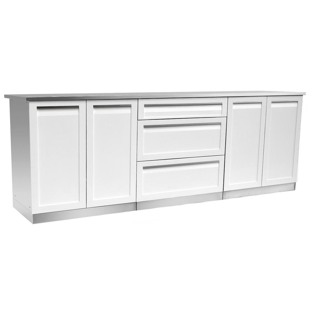 Stainless Steel Outdoor Cabinet Set Powder Coated Doors White