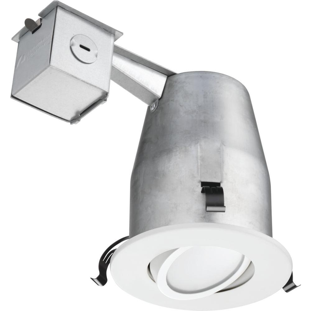 Lithonia Lighting 4 in. White Recessed Gimbal LED Down-Lighting Kit