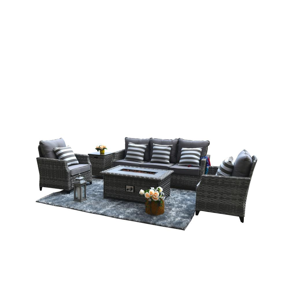 DIRECT WICKER Maxwell 5-Piece All-Weather Wicker Patio ...